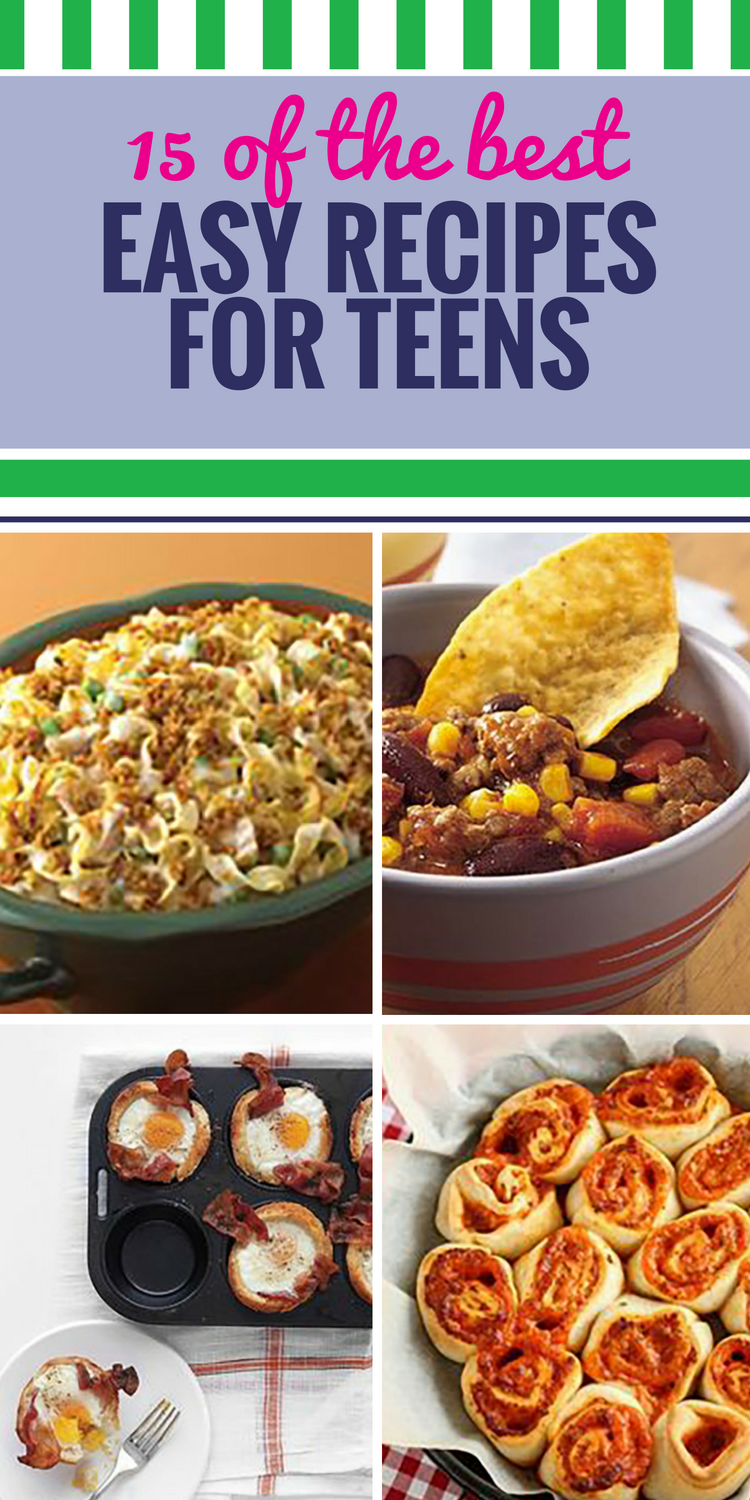 15 Easy Recipes for Teens. Teens are starting to develop their own tastes, and often have more time to make food than their parents (especially when they're eating 100 meals a day). These recipes are easy enough to whip up any time. Here's an idea - make extra, because the whole family will love these.