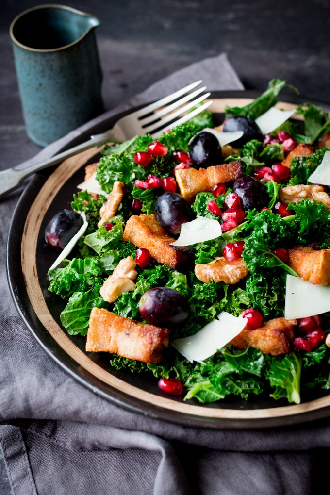 warm-kale-pork-belly-salad-with-pomegranate-dressing