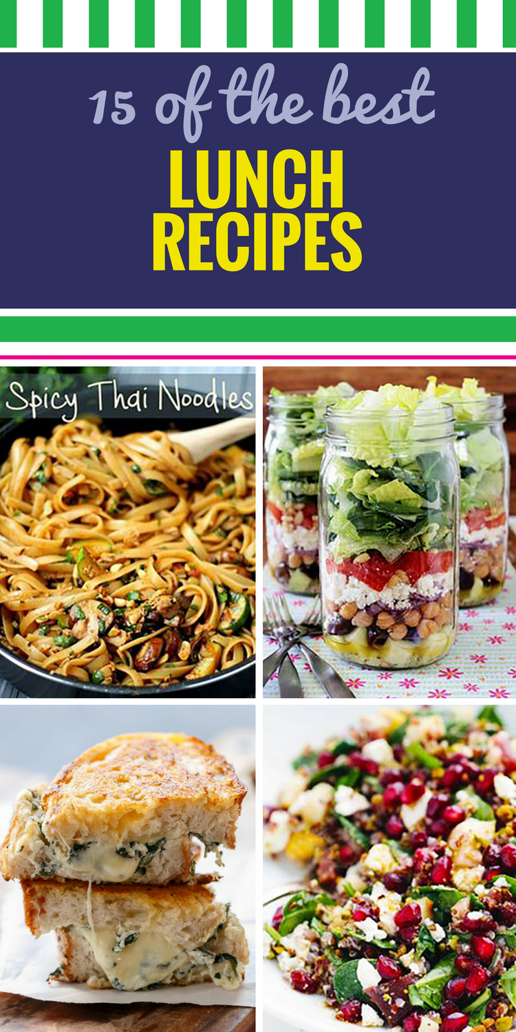 15 Lunch Recipes. Lunch is often an overlooked meal - not a day-starter like breakfast, not planned for like dinner. Whether you want a simple soup and salad or a grilled panini, keep your healthy day on track by skipping the drive-through and whipping up one of these lunch ideas.