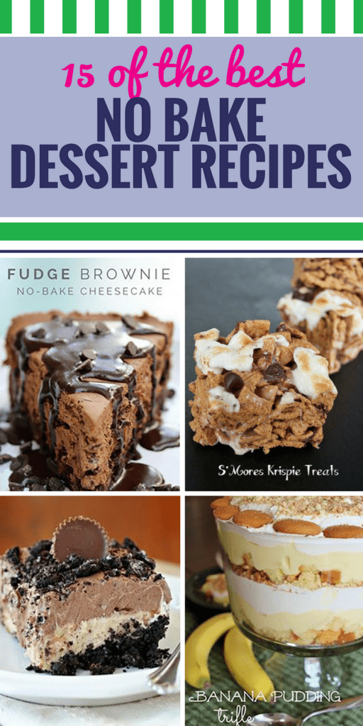15 No Bake Dessert Recipes. Whether you're short on time or it's too hot to turn on the oven, sometimes no bake desserts are just what you need. Our favorite are the apple crumble bars - watch yourself, or you'll be eating them for breakfast.