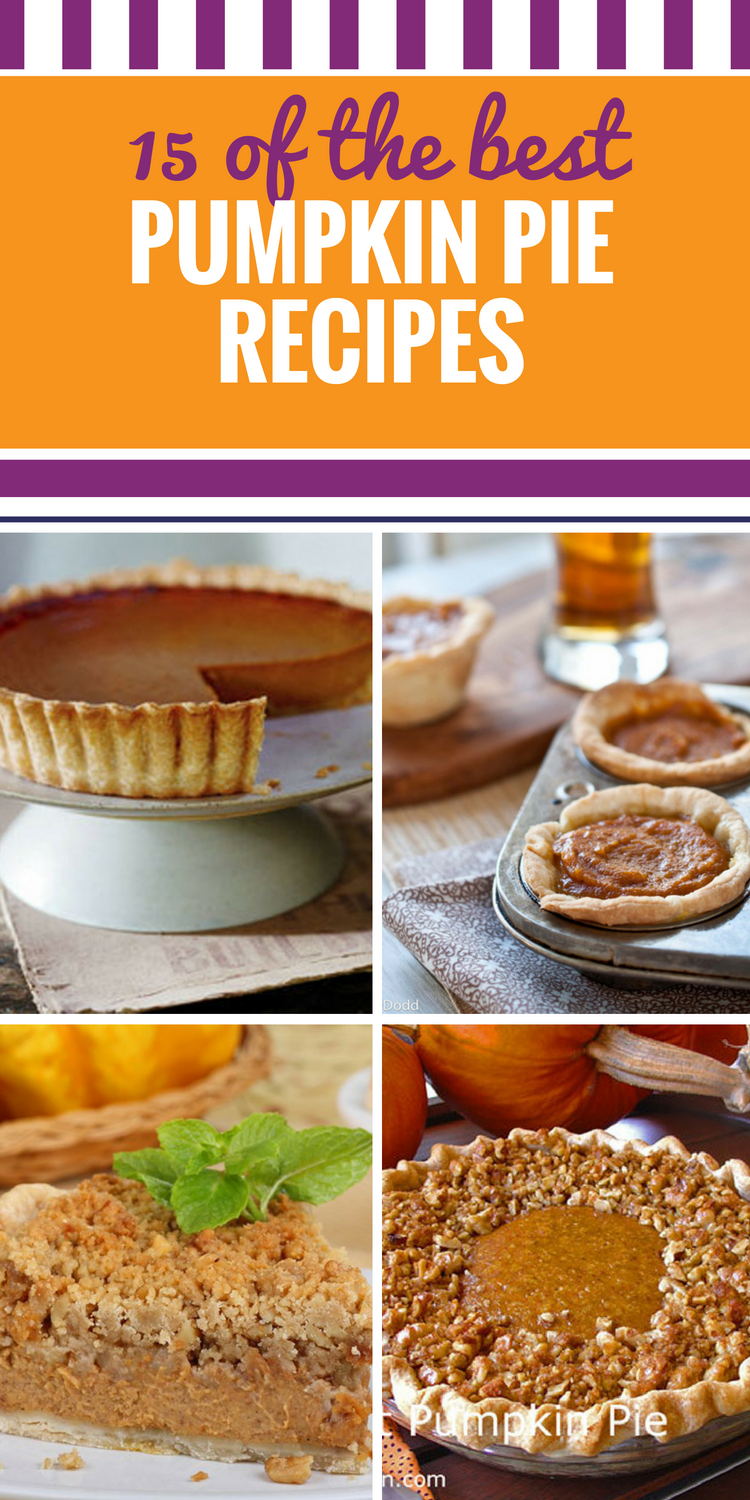 15 Pumpkin Pie Recipes. From the classic dessert to unique twists on an old favorite (Apple butter pumpkin pie? Pumpkin pie bars with gingerbread crust? Oh my.) you'll want a different one after dinner every day of the week. You deserve more pumpkin desserts in your life.
