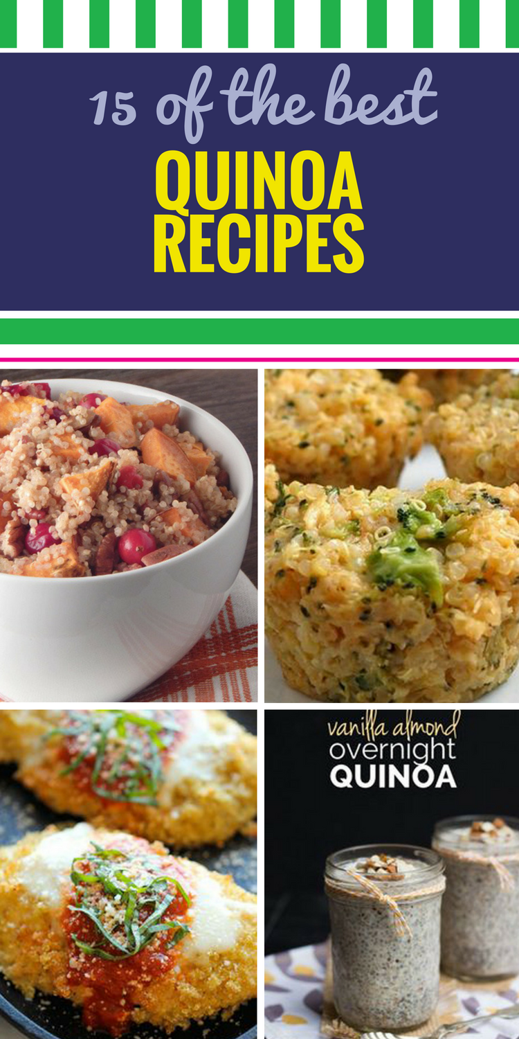 15 Quinoa Recipes. As people embrace a healthy lifestyle, more and more of them are cooking with quinoa. You can use it in any meal (yes, even breakfast.), bake with it, add it to savory soup - the options are unlimited, but you should start with these 15 recipes. We especially love this Quinoa Caprese Salad recipe - the perfect combo of protein, fiber and flavor or a great lunch.