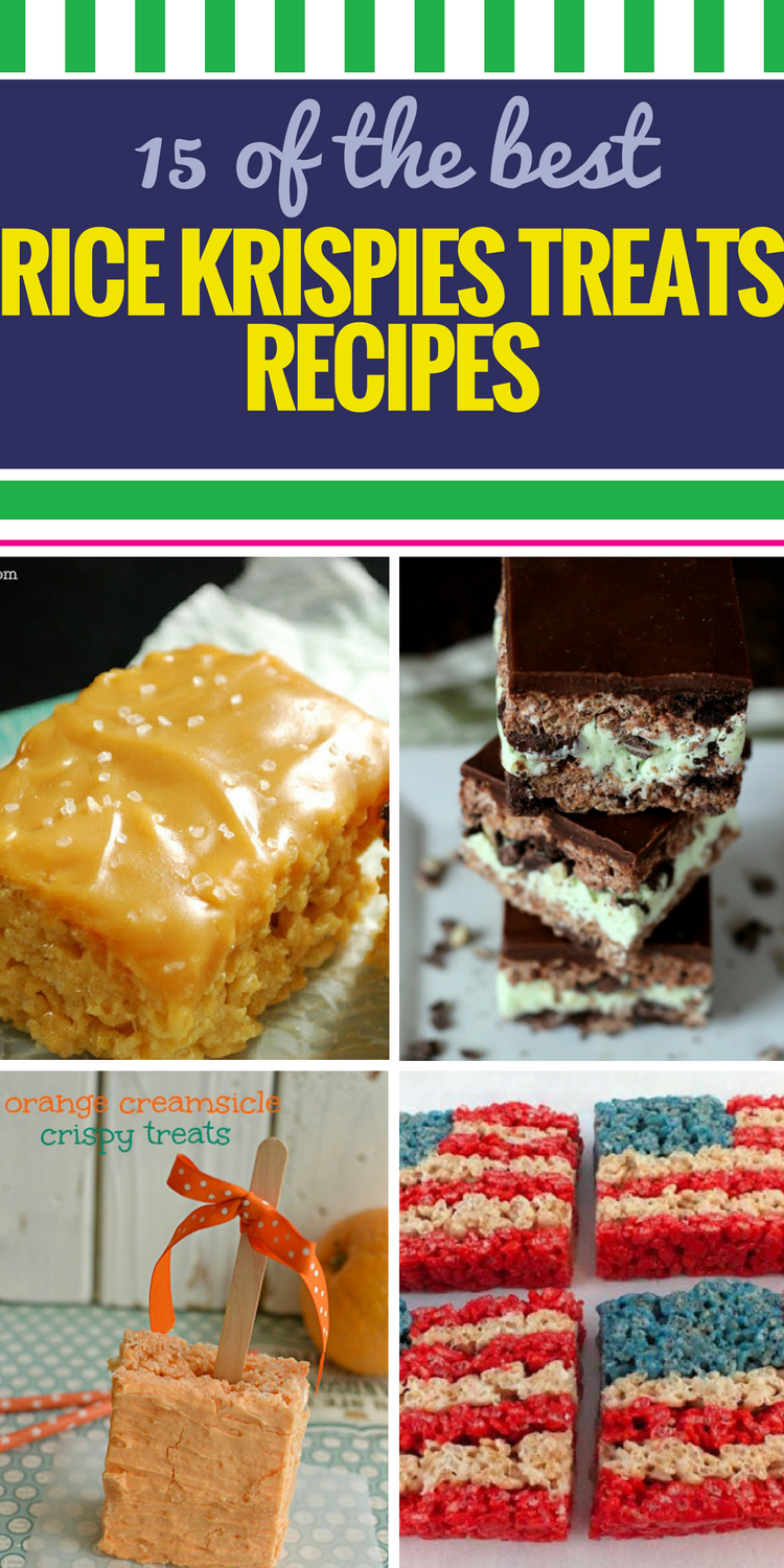 15 Rice Krispies Treats Recipes. These are everyone's favorite cereal-based desserts - and as you'll see they don't have to be boring. From fun (Funfetti Rice Krispie Treat bars) to exotic (sushi?.?) to the unexpected (salted caramel Rice Krispie treats - yes.), there's something for everyone - and you'll feel good about serving this healthy dessert alternative, too.