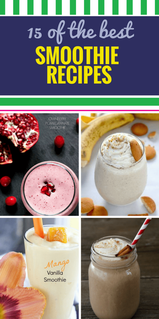 15 Smoothie Recipes. Drinking smoothies is a great way to incorporate more fruits, veggies and yogurt into a healthy diet. Try them for breakfast, a mid-day pick me up, or even dessert - the banana and mango in the tropical smoothie is so sweet and refreshing.