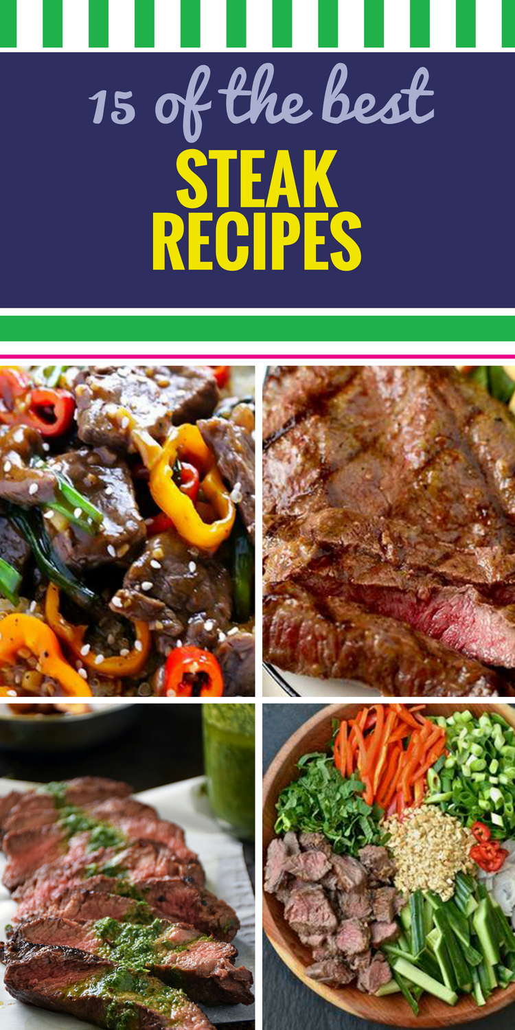 15 Steak Recipes. Beef is a popular dinner staple, and for good reason. Whether you like it pan seared or made in the oven (or even the crockpot), you'll love our dinner ideas, including some marinated in yummy sauce, sirloin salad, and even healthy options like the delicious grilled steak and veggies with jasmine rice.