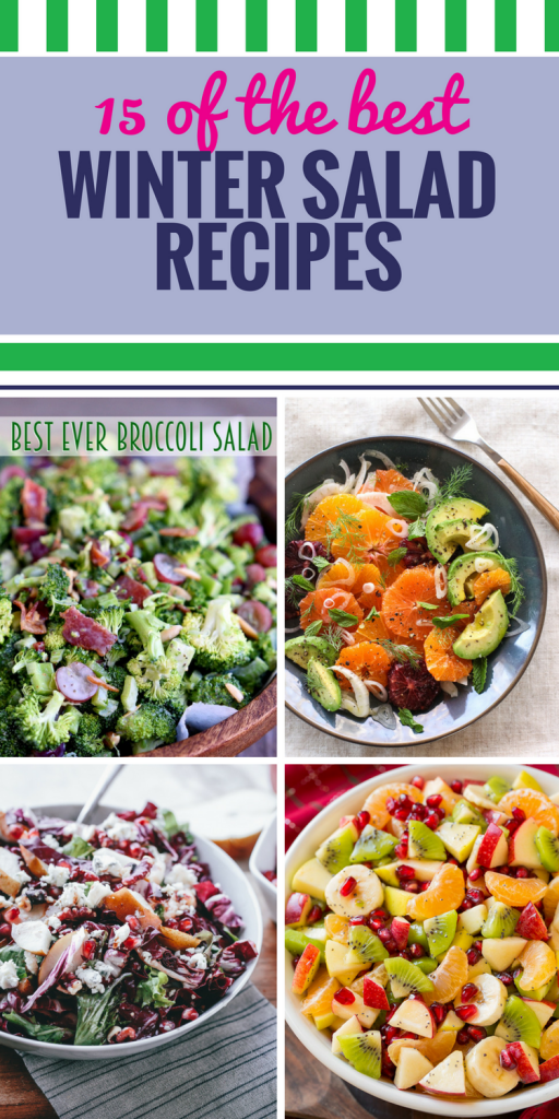 15 Winter Salad Recipes. So much food is heavy in the cold months, it's nice to add a crisp, healthy salad to your meal. They pair perfectly with dinner or soup, like this light Apple Arugula Salad (LOVE the honey and orange zest in that dressing.). Top them with pork slices or chicken and they even make a filling main dish.