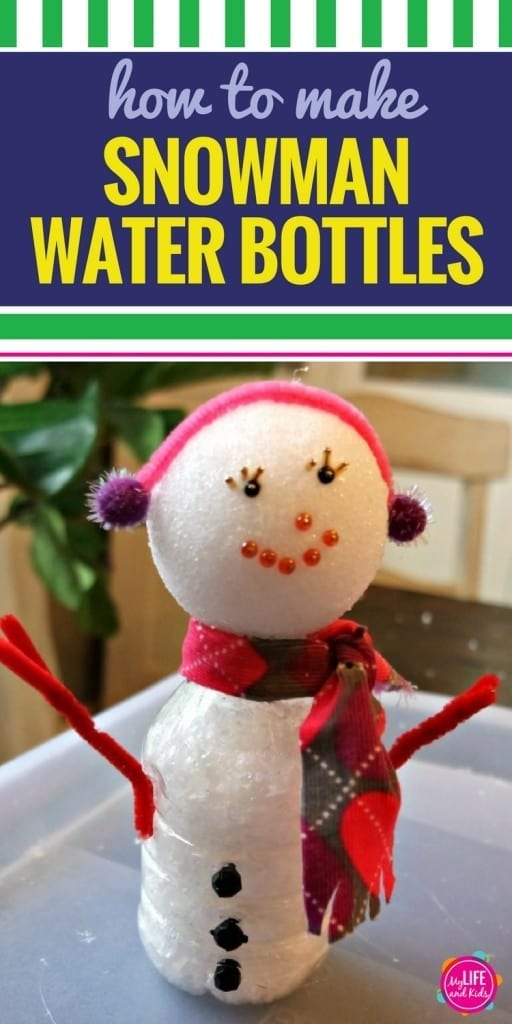 This DIY recycled water bottle snowman is a great winter craft activity to do with your older kids. It's a fun way to celebrate the holidays and spend time together as a family. It's also a fun activity to do with toddlers, but you'll need to plan on helping quite a bit.