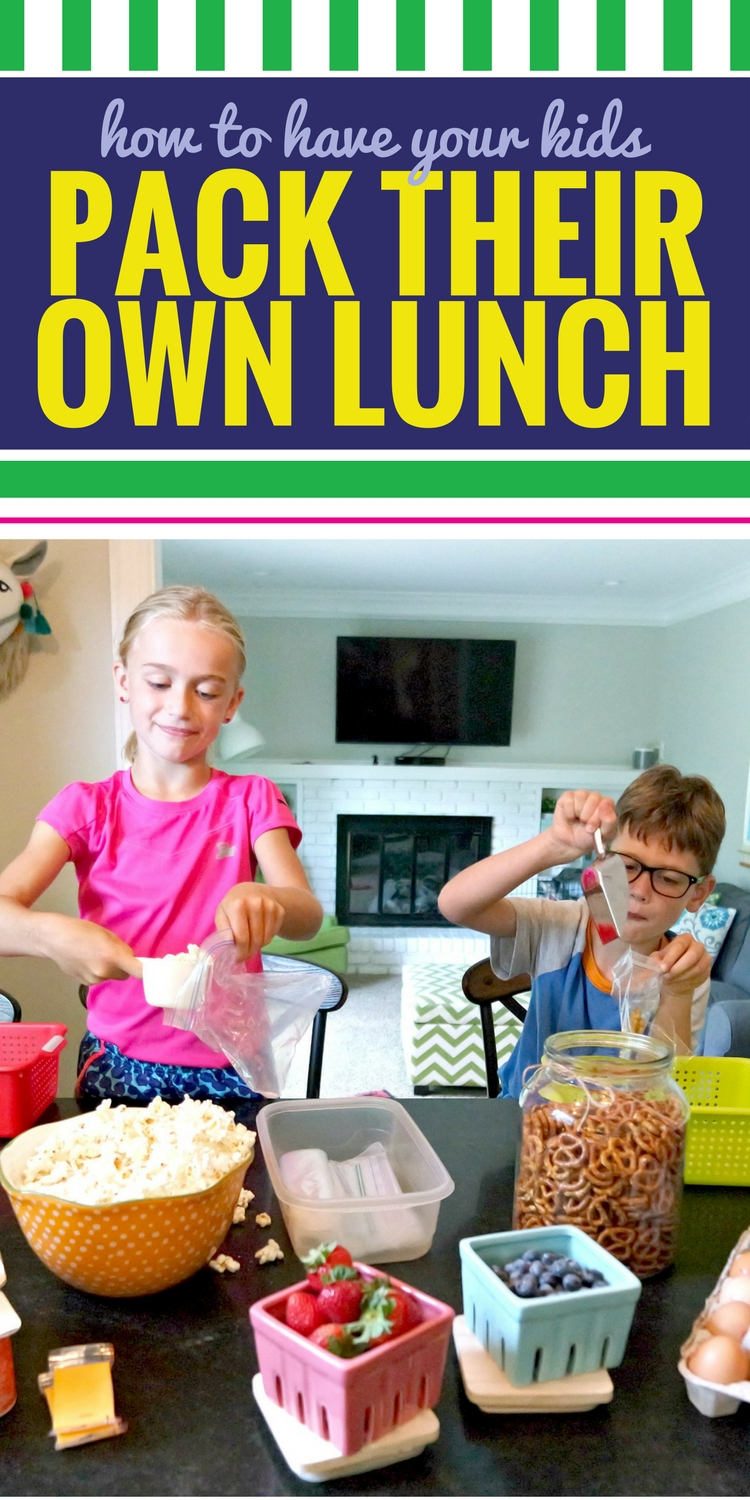 Sick of packing school lunches? Use THIS routine to have your kids pack their OWN lunch. No packing the night before. Very little work before school. This back-to-school lunch routine really does work, and your kids can do it independently (without you nagging!) Now your kids can actually eat all of those packed school lunch ideas you've been pinning. #backtoschool #lunch #organization #routine