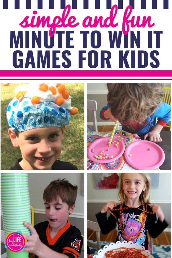 "After hours of ""testing"" different ideas, these are our favorite easy DIY Minute-to-Win-It Games.They're fun and simple to set up and still challenging for kids, teens and adults. These games are the perfect activity for kids parties, birthday parties, family parties, school parties, after-school parties or a pizza party. Plus some are themed for Halloween, Christmas and New Year's Eve. #MinutetoWinIt #games #kids #party"