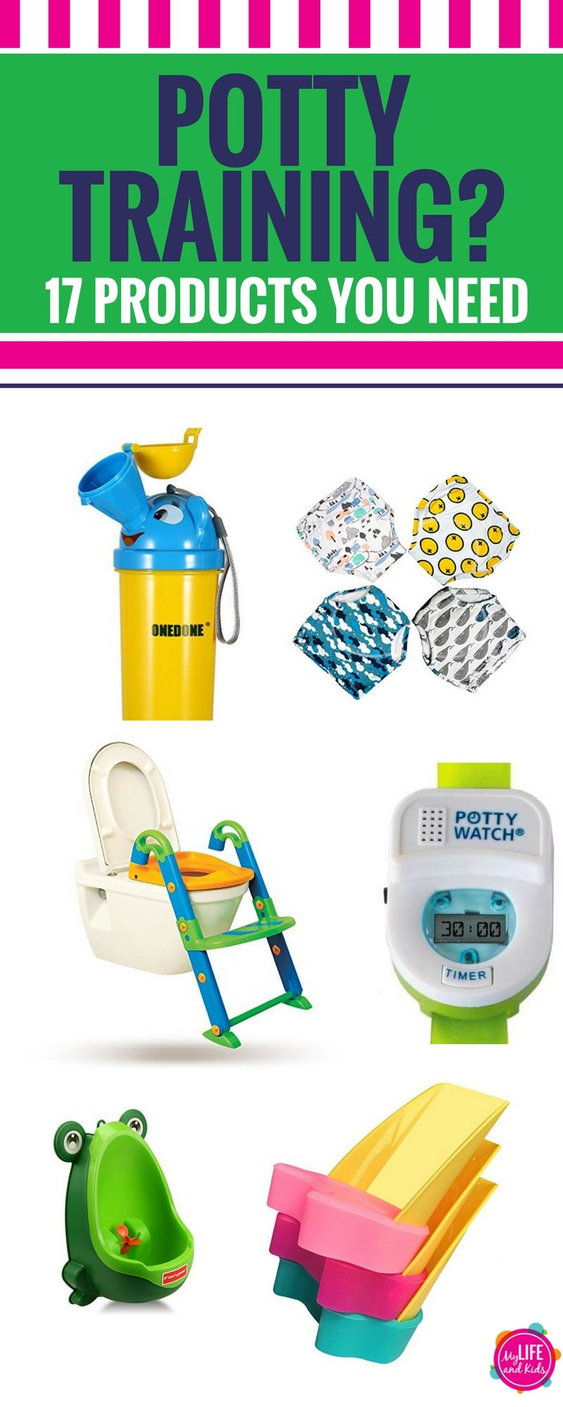 Are you thinking about potty training, or are you already in the middle of it? Whether you're potty training a girl or a boy, an 18 month old, a two year old or a preschooler, these must-buy potty training items will have your child potty trained in no time! From practical to unique to downright fun, these potty training items will have even the most stubborn child excited to use the potty.