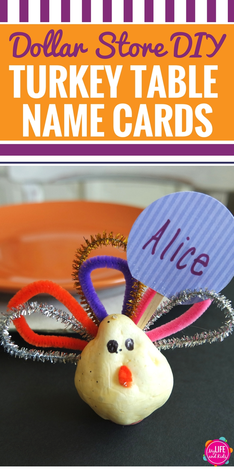 Whether you're looking to spruce up the kids table at Thanksgiving dinner or just want a simple Thanksgiving craft for your kids to do while the turkey is cooking, you're going to love these DIY Dollar Store Turkey name cards. Grab your supplies at the Dollar Store or the Dollar Tree, and you'll be able to create them in no time. They're perfect for the kids table OR the adults table during Thanksgiving dinner.