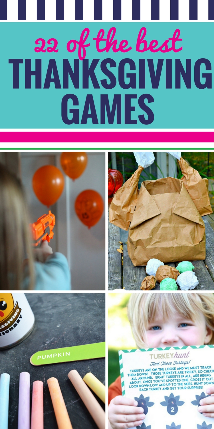 Whether you are planning a classroom party or want to add a little fun to your family Thanksgiving gathering, these Thanksgiving games are great for kids and adults alike. Whether you work in a preschool, are looking to find entertainment for teens or these are for work, you're all going to love these fun and easy games. Including Minute to Win It Thanksgiving ideas. Gobble Gobble. #Thanksgiving #games #Thanksgivinggames #minutetowinit #familyfun #classroom