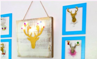 This easy DIY acrylic painting is perfect for beginners, especially if you have an obsession with deer decor. Simply follow the free printable deer silhouette pattern following this step by step tutorial, and you will have adorable DIY deer silhouette decor that you made yourself. Even if you're not confident in your ability to do crafts, you can make this! #crafts #acrylic #diy #deer #deersilhouette #antlers #beginner
