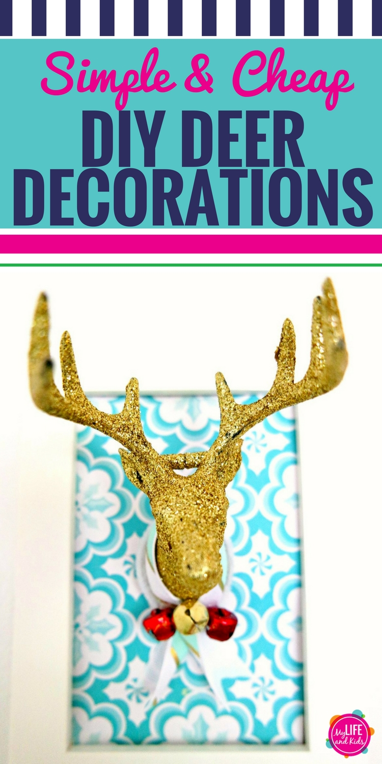 If you've ever wanted to try a DIY deer decor project, this is your time. Using supplies from the Dollar Stores or Dollar Tree, this simple and inexpensive deer antler decoration is perfect for Christmas or year round. This is a super easy craft that you're going to love. #deer #diy #christmas #craft #dollarstore #dollartree #antlers #diydeerdecorations #animalheads