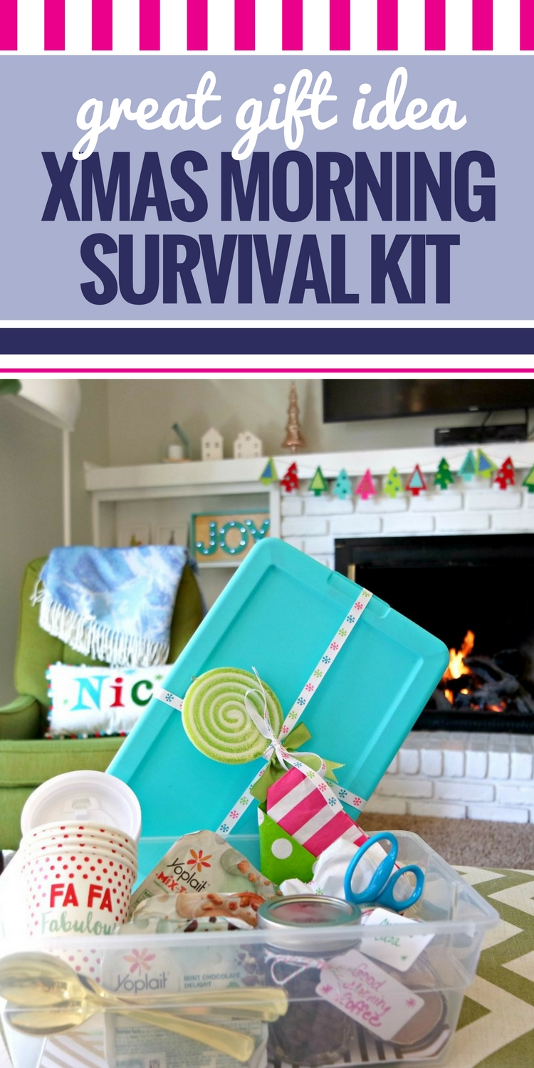 Are you looking for the perfect Christmas gift for friends, neighbors and teachers? This DIY gift idea is great for parents and kids. A Christmas morning kit contains everything they'll need on Christmas morning. From trash bags to coffee and even scissors, you've thought of everything. Such a great and thoughtful gift that is easy and simply to put together! #IWorkWithYoplait #Christmas #giftideas #DIY #cheap #DIYgiftideas #Teachergifts #neighbors #xmas