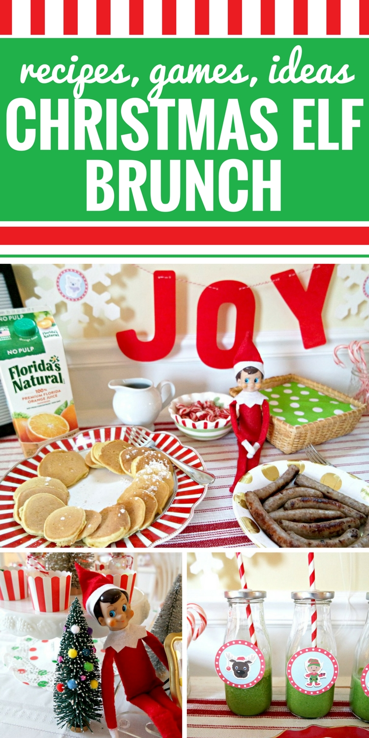 "Whether you're hosting an Elf on the Shelf brunch as an introduction to the season or as a goodbye party for your Christmas Elf, your kids will love these Christmas Elf games, coloring sheets, Mad Libs, photo props and charades. And you will love these simple and delicious recipes for orange juice pancakes and ""grinch juice."" This DIY Elf on the Shelf breakfast doesn't get any easier than downloading these free printables and following these simple ideas for a brunch that you and your kids will always remember."