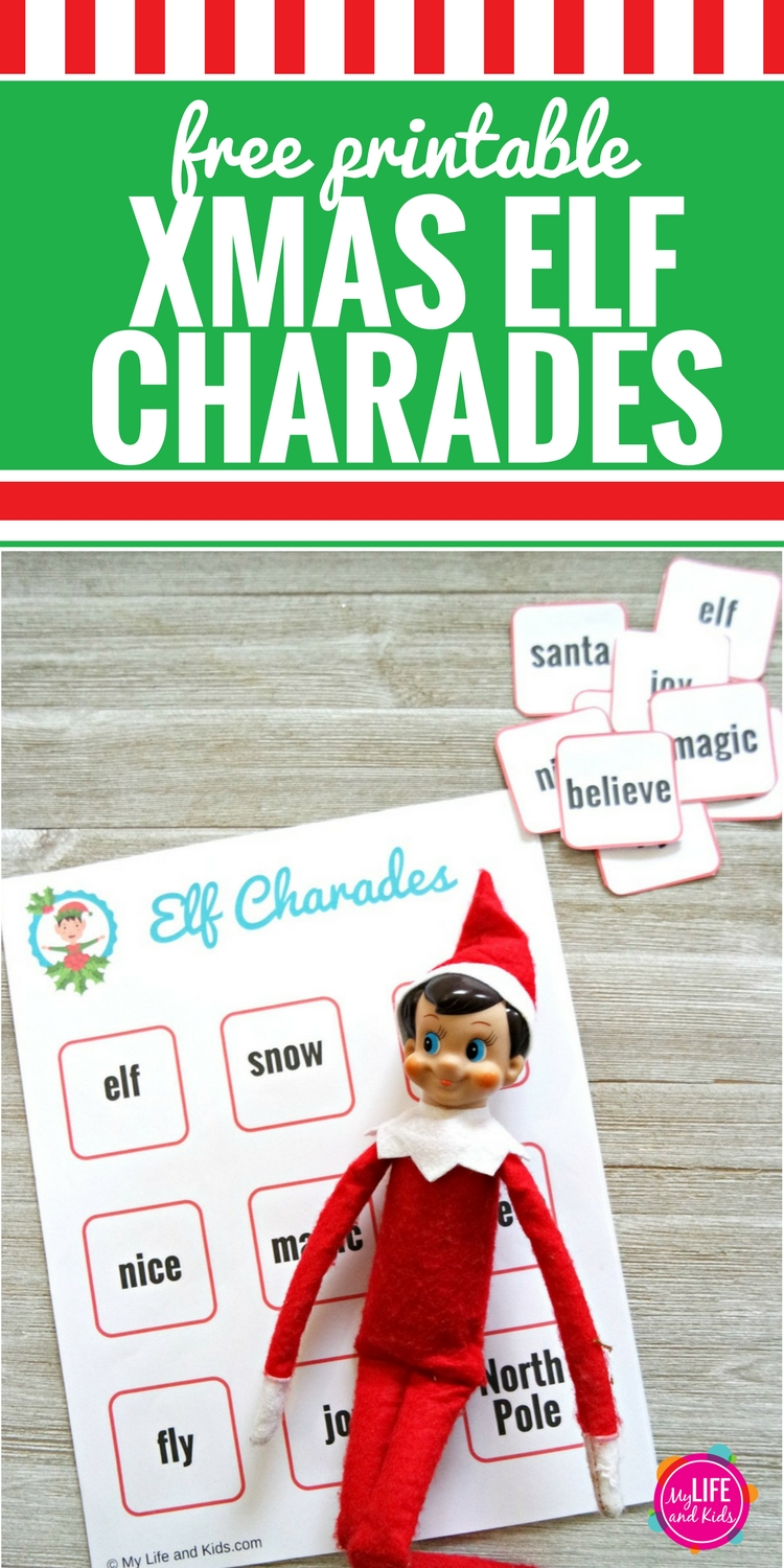 picture about Charades for Kids Printable called Xmas Elf Charades - My Everyday living and Small children