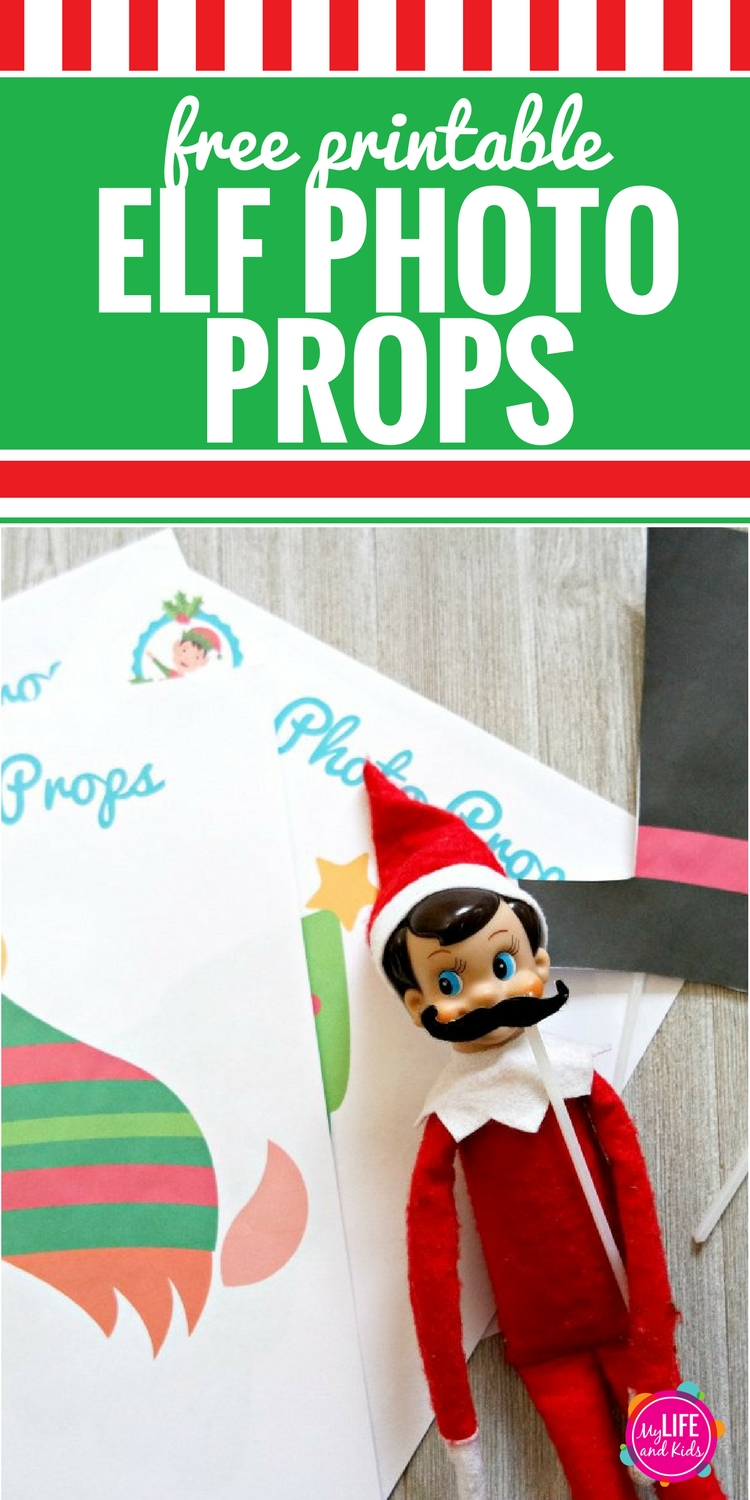 Decorate yourself and your Elf on the Shelf with these free printable Christmas Elf Photo Props. Simply download, print, cut and attach to a drinking straw or skewer. Your kids will love silly Elf Photos of themselves, and they'll especially love the props designed just for their Christmas Elf.