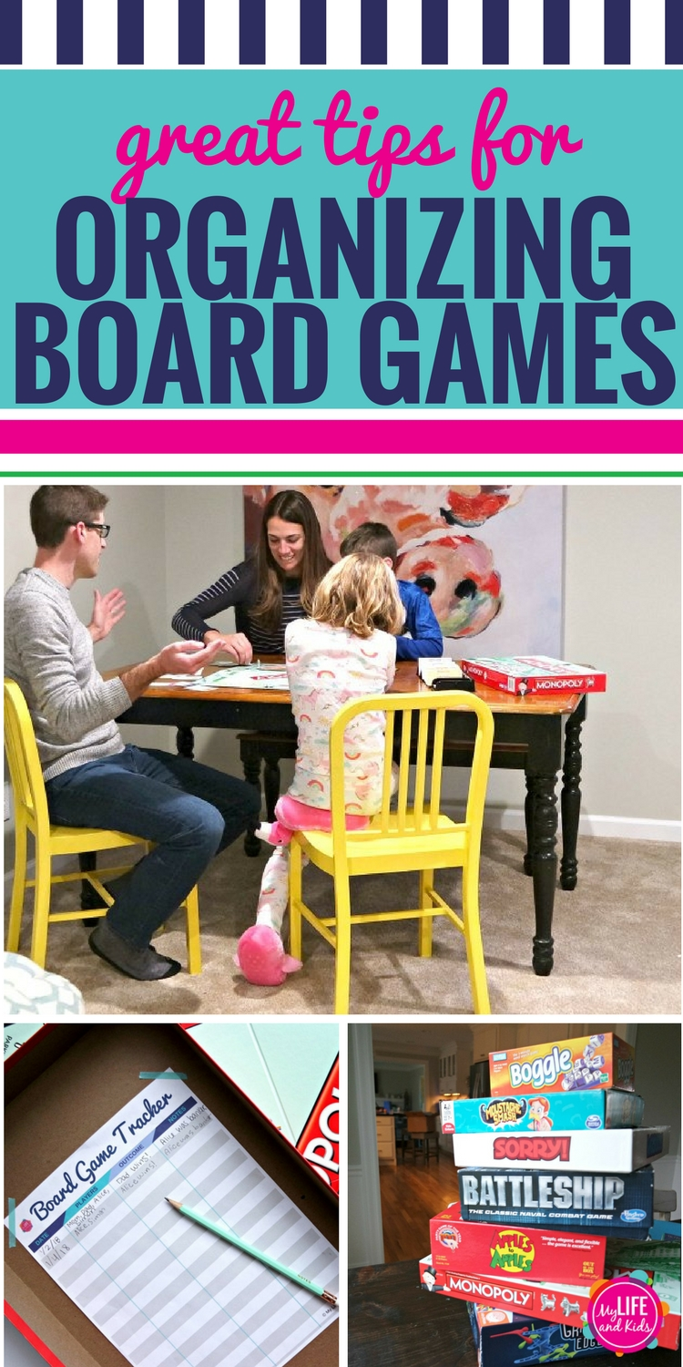 Looking for some fun organization ideas for the home? Whether you keep your board games in bedrooms or closets, your whole family will love these tips for getting your games organized. Plus, download your free printable board game tracker to remember the fun you have as a family, plus know when it's time to get rid of a game because the kids aren't playing it anymore. #CountOnCor #OvenTimeTips #ad #organization #organizationideas #organizationtips #organizationhacks #boardgames #freeprintables #freeprintable #freeprintableforkids