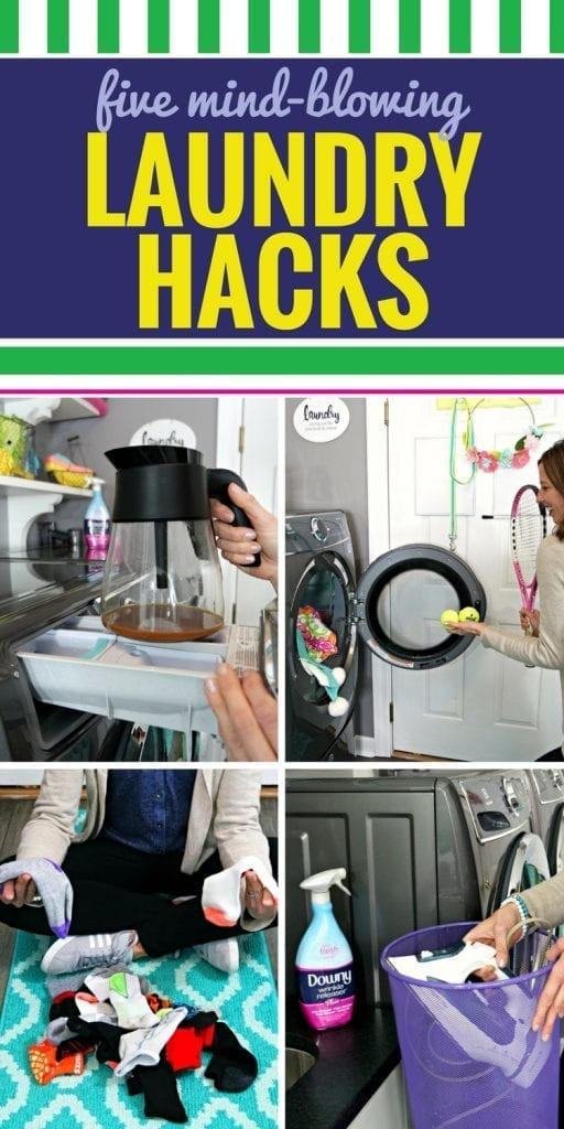 These laundry hacks for busy moms will have all of your clothes clean and dry in no time. These ideas, tips and tricks are perfect for busy families. From keeping your darks dark to removing wrinkles without an iron, every parent needs these laundry room hacks. #laundry #families #busymom #spraytugsmooth #alwayslookyourbest