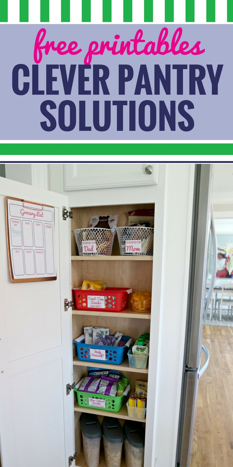 Parents everywhere need to see this clever pantry organization solution created on behalf of On-Cor. This simple idea completely changed how my kids snack, and how involved I am with their choices. Whether you have a small pantry or a deep one, these pantry ideas (using containers from the Dollar Store) will have your entire family food situation organized (even the cereal)! Plus, grab your free pantry printables and grocery list (to hang on the pantry door). #ad #organization #freeprintables