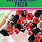 This watermelon pizza is fun, easy and delicious. Packed with fruit and yogurt, it's healthy, your kids will love it, and it makes for the perfect dish to serve at a party or potluck. You can even sprinkle on some chocolate chips, nuts or granola. Or get really wild and add feta cheese. Whether you eat it for dessert, a snack or even your main meal, your kids, family and friends will love this new twist on the watermelon. See the recipe and video here. #watermelon #pizza #summer #food #recipes #yum