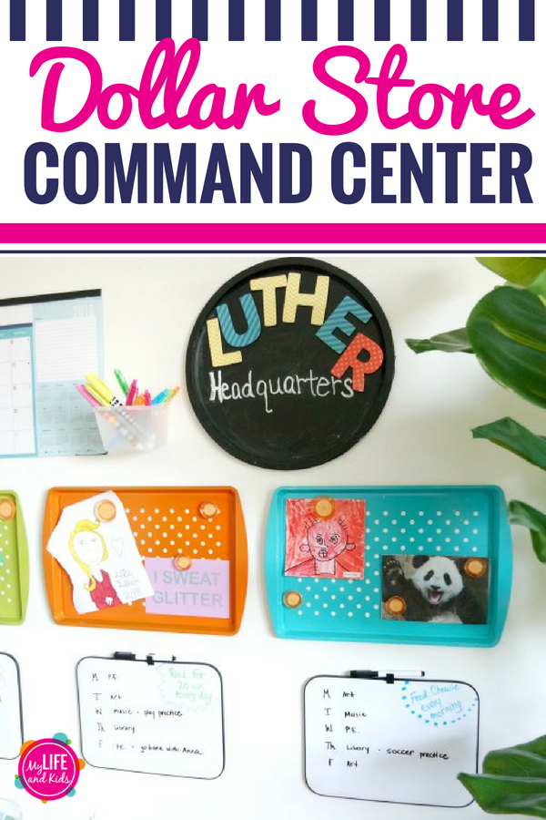 Are you ready to get your family organized? This Dollar Store DIY Command Center is exactly what you need to help your busy kids stay on track! I bought everything at the Dollar Tree for just $1 each, but you could find these things at most Dollar stores (Family Dollar, Dollar General, 99 Cents Only, etc). For less than $20, I was able to create this entire family command center. #commandcenter #backtoschool #organization #dollartree #dollarstore #diy