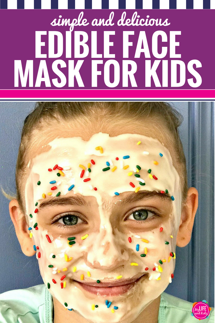 Whether you're throwing a spa birthday party or just want some fun relaxation time with your kids, this DIY edible face mask is sure to make any little girl (or little boy, if we're being honest) super excited for some pampering. Inspired by the Sunny Day preschool series on Nickelodeon, you can follow the simple and easy recipe to make it yourself, or you can just grab a jar next time you're at the grocery store. And it tastes good too! #spaday #kids #parenting #facemask #recipe #edible #diyfacemask #sunnyday