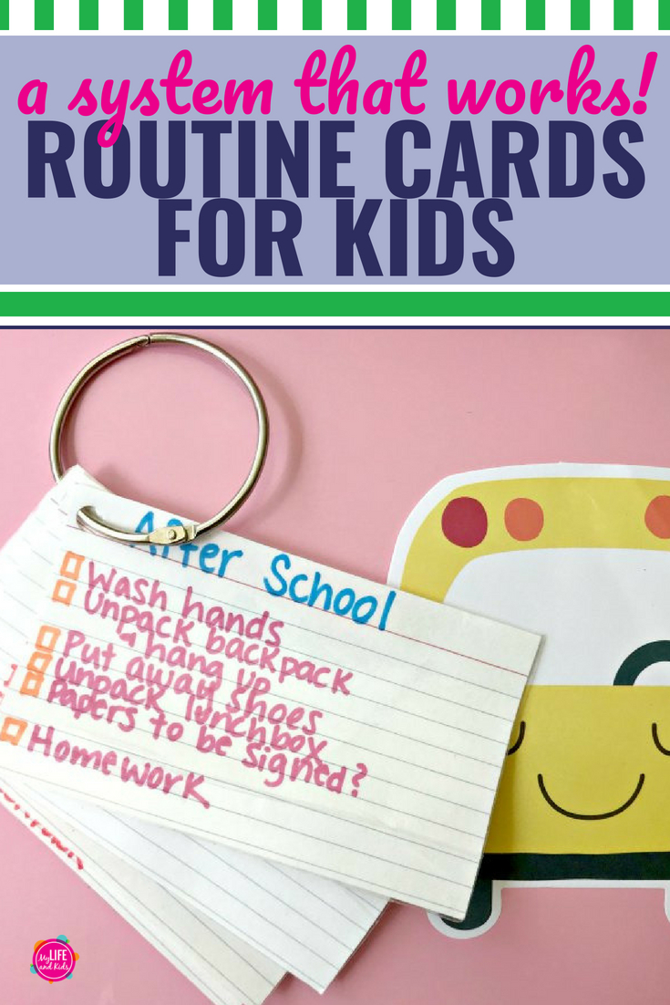 These simple daily routine cards have changed the way I interact with my kids before school, after school, and even on the weekends. While we've tried charts in the past, these cards are easier to make and modify, and my kids love that they're portable. You don't need a printable, and they work with boys, girls and especially for kids with ADHD. While you could make something similar for toddlers, they're perfect for teens, tweens and even kindergarten kids. #backtoschool #routinecharts #ADHD