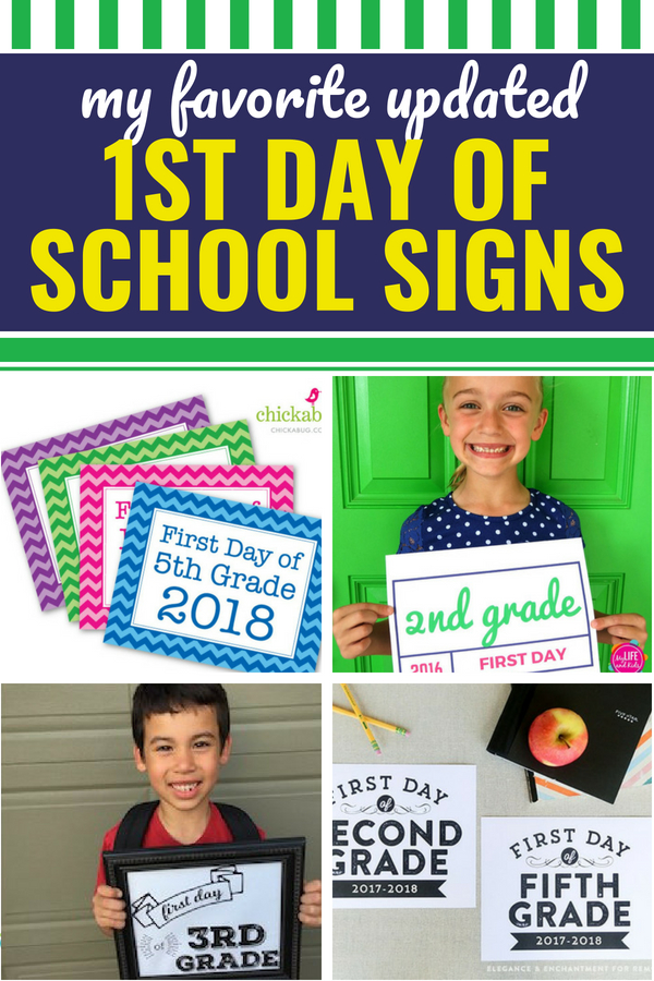 These free first day of school signs make pictures a breeze as the school year starts. I hate looking at old pictures and trying to remember what grade everyone was going into based on their clothes (or the date on the back of the pic). I've rounded up the best back-to-school free printables (and my favorite About Me Printable) so that you never have to try to guess what year it was or what grade your kids were going into. From kindergarten to senior year, simply download, print and head back to school. #backtoschool #free #printables #firstdayofschool