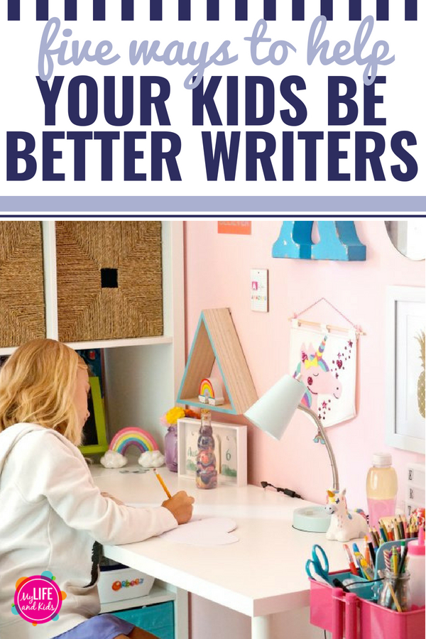 I'm sharing 5 ways to help your kids become better writers while still having fun. These ideas will help parents continue their child's learning outside of the classroom while still teaching them important writing skills that will help them succeed in schoolwork, standardized tests, college application essays and holding a job. #ad #SylvanLearning @SylvanLearning #writing #tips #kids #teaching #classroom #parents #tutoring