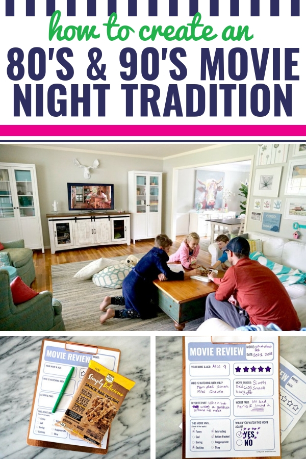 I'm sharing my top tips on how to start a movie night tradition in your house, featuring a list of our favorite throwback movies from the 1980's and 90's that the entire family will love. From sad to funny and even downright hilarious, your kids will enjoy these old favorites. Including a free printable movie review worksheet. Plus, learn more about our favorite movie-night snack, Simply Delicious Snack Bar Dough by NESTLÉ® TOLL HOUSE®! #SnackSimply #sponsored #movies @nestletollhouse