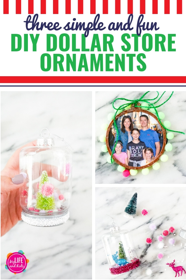 These easy DIY Dollar Store Christmas Ornaments are so easy to make. They're great crafts for kids or adults to give as gifts or to keep for yourself. Plus, it's a great way to use your favorite photos and Christmas card photos. (And no paint required!)