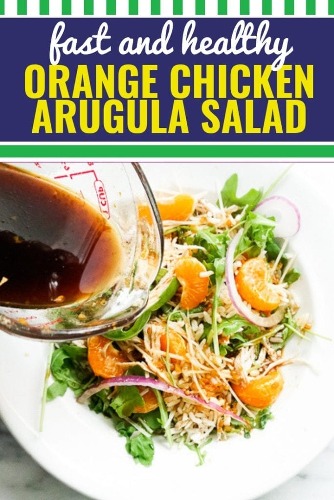If you're looking for a simple and healthy salad that won't make you want to cry, you've come to the right place. This orange chicken arugula and brown rice salad with shaved parmesan is the best way to eat arugula, and the homemade dressing (in the form of an orange ginger glaze) is out of this world. Savory and sweet, crunchy and hardy, fresh and absolutely irresistible. This salad is packed with so much bursting flavor that it is easy to miss all of the nutritional value snuck in!