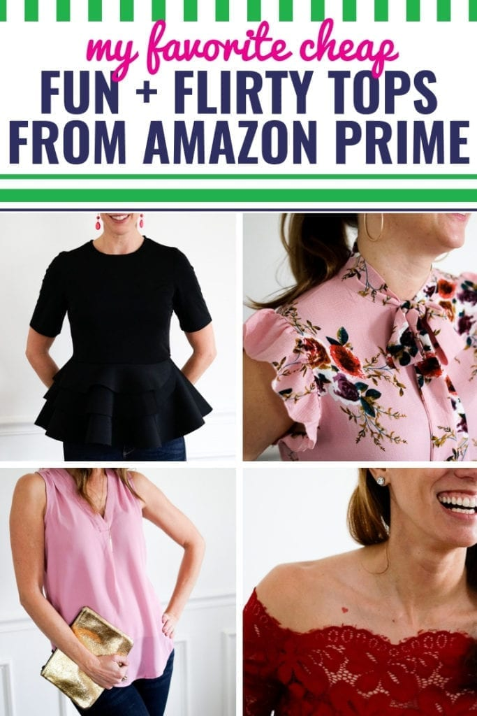 Looking for your perfect date night outfit that you can wear with jeans? Winter, spring, summer or fall, I'm sharing some of my favorite cheap and affordable Amazon shirts that are fun and flirty. Make them dressy or keep them casual, they can all be classy or romantic depending on your accessories. The best part? You can style these tops for the office or the playground taking you from day to night. Don't be afraid to buy clothes on Amazon. All found on Amazon Prime. NOTHING over $30.