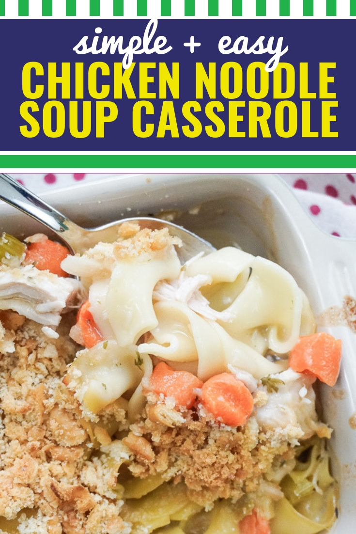 This easy homemade chicken noodle soup casserole can be made in the crock pot, in the instant pot or in the oven. It's healthy, simple to pull together and can be made using shredded chicken or a rotisserie chicken picked up from the grocery store. Nothing warms the home and soul like a robust chicken noodle soup when it becomes a CASSEROLE. This dish is sturdy enough to stand alone, or be served with a warm bread and side salad.
