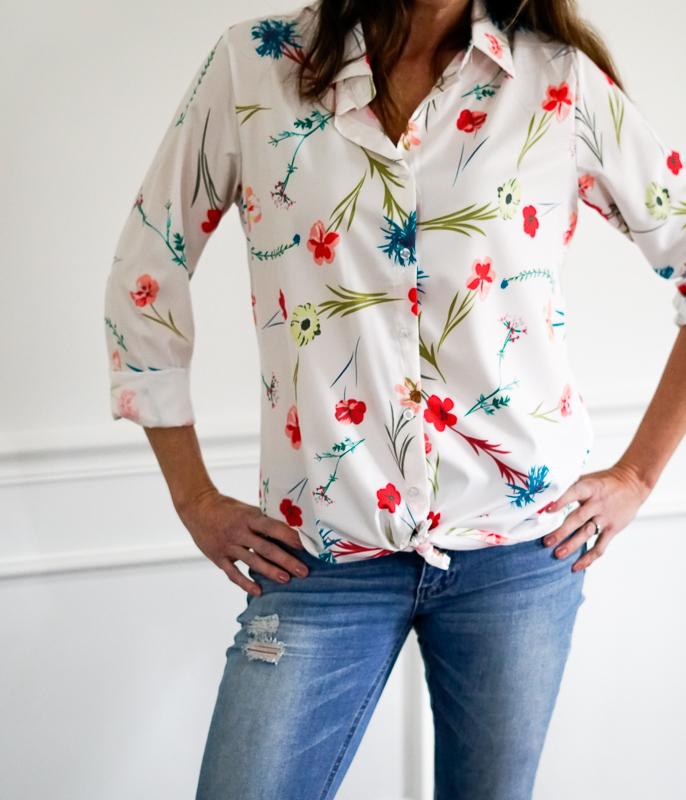 cc7e9e419ade5 luvamia Womens Floral Print Shirt Long Sleeve Button up V Neck Casual Top  Blouse
