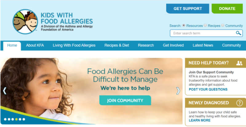 Kids with Food Allergies site