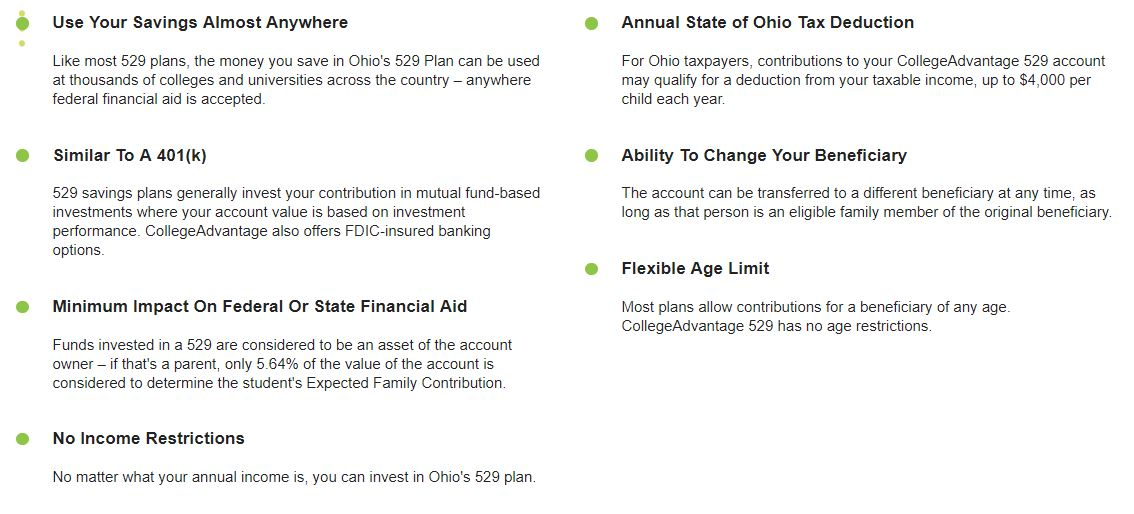 Description of various benefits of Ohio 529 plan. Black text.